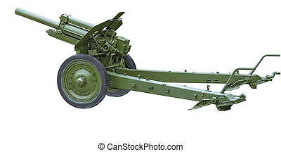 The howitzer. - Howitzer M-30 painted in green on a white...