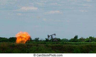Oil Derrick - Oil derrick is actively working on the still...