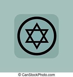 Pale blue Star David sign - Star of David in circle, in...