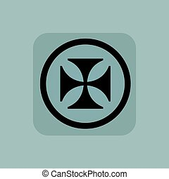 Pale blue maltese cross sign - Maltese cross in circle, in...