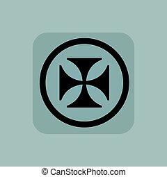 Pale blue maltese cross sign - Maltese cross in circle, in...