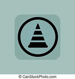 Pale blue traffic cone sign - Traffic cone in circle, in...