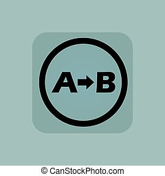 Pale blue A B sign - Letters A, B and arrow in circle, in...