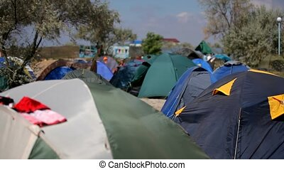 Large Tent Camp On The Nature