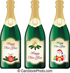 New Year champagne label set