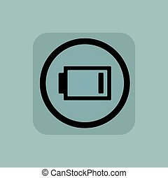 Pale blue low energy sign - Very low battery in circle, in...