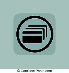 Pale blue credit card sign - Credit card in circle, in...