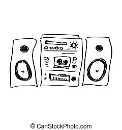 Simple doodle of a hifi - Simple hand drawn doodle of a hifi