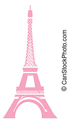eiffel tower - view of eiffel tower in pink with white...