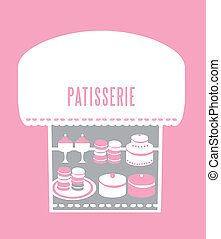 pastry shop - collection of pastries, cakes at a window...