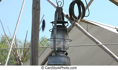 Old fashioned hanging lamp at Far-west camp - Taken with a...