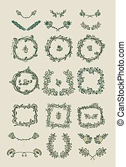 Big set of floral graphic design elements - Big set of...