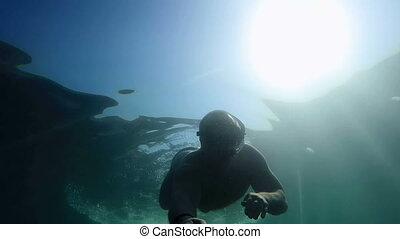 Silhouette of snorkeling diver underwater against the sun