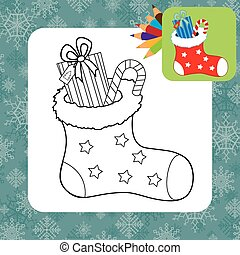 Christmas gifts. Coloring page. Vector illustration