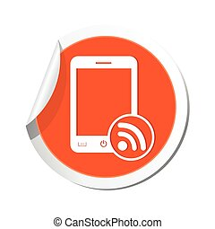 Phone with rss icon. Vector illustration