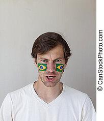 Displeased Brazilian sports fan - Displeased male sports fan...