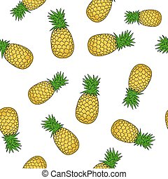 Seamless Pattern of Pineapple , Fruit Pattern, Vector...