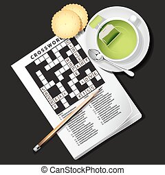 illustration of crossword game with cup of green tea and...
