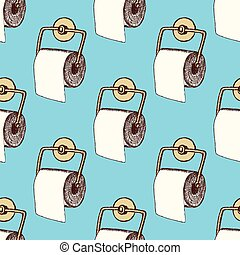 Sketch toilet paper in vintage style, vector seamless...