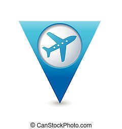ap pointer with airplane icon - Blue triangular map pointer...