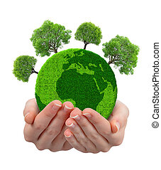 Green planet with trees in hands isolated on white...