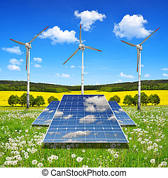 solar panel with wind turbines - Solar energy panels with...