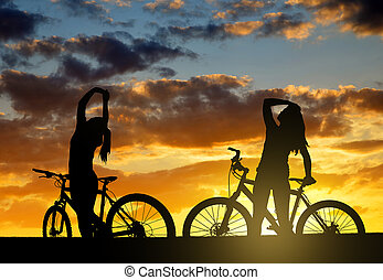 Girls on a bicycle