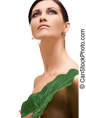 woman with green leaf - picture of woman with green leaf...