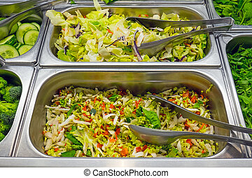 Salad bar in a restaurant - A salad bar seen in a restaurant