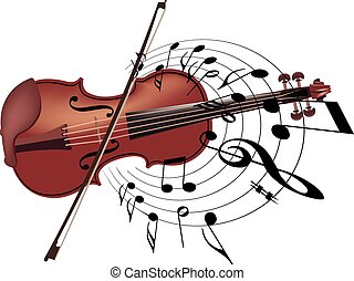 musical instrument violin with note