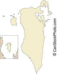 Bahrain, Middle East - Bahrain, editable vector map broken...