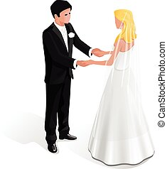 newlyweds in their wedding clothes stand and hold each...