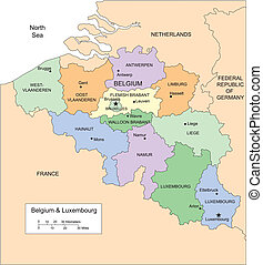 Belgium and Luxembourg with Administrative Districts and...