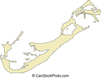 Bermuda, Island - Bermuda Islands, editable vector map...