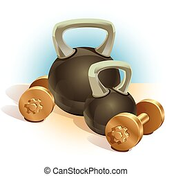 dumbbells - two dumbbells and two weights of different...