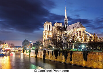 Notre Dame de Paris Cathedral and Seine River in the...