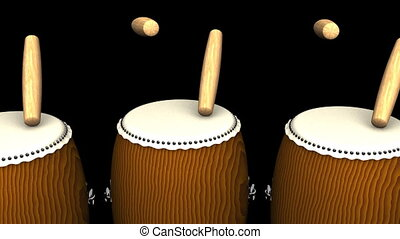 Loopable Asian Drums On Black Background