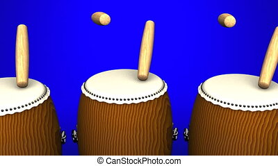 Loop able Asian Drums On Blue Background.
