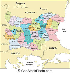 Bulgaria with Administrative Districts and Surrounding...