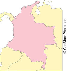Columbia, and Surrounding Countries - Colombia, editable...