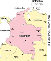 Columbia, Major Cities and Capital and Surrounding Countries...
