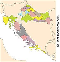 Croatia, Administrative Districts - Croatia, editable vector...