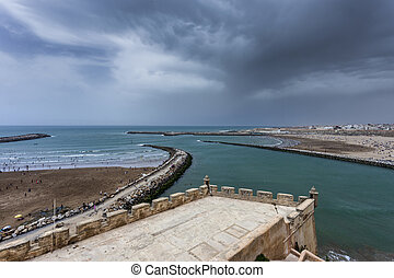 Rabat Beach during the summer, Morocco - View of the...
