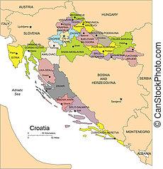 Croatia, Administrative Districts, Capitals - Croatia,...