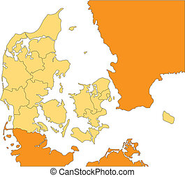 Denmark with Administrative Districts and Surrounding...
