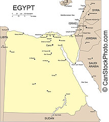 Egypt, Major Cities and Capital - Egypt, editable vector map...