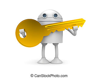 Robot with gold key - New technologies metaphor Isolated on...