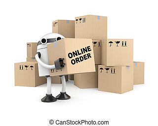 Robot with cardboard boxes - Business concept. Isolated on...