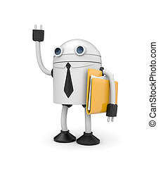 Robot with folder - Business concept. Isolated on white