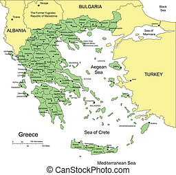 Greece with Administrative Districts and Surrounding...